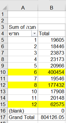 חישוב ההוצאות החודשיות בעזרת Pivot table